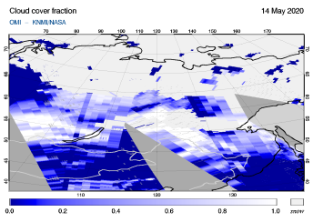 OMI - Cloud cover fraction of 14 May 2020