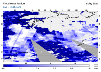 OMI - Cloud cover fraction of 15 May 2020