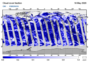 OMI - Cloud cover fraction of 16 May 2020