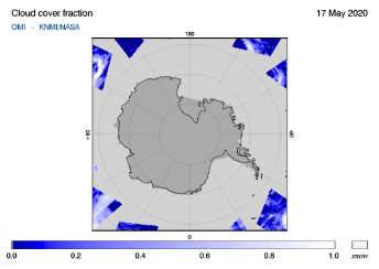 OMI - Cloud cover fraction of 17 May 2020