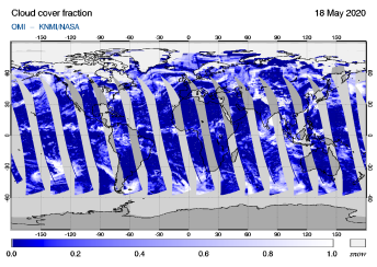 OMI - Cloud cover fraction of 18 May 2020