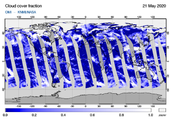 OMI - Cloud cover fraction of 21 May 2020