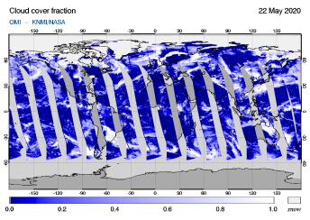 OMI - Cloud cover fraction of 22 May 2020