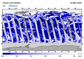 OMI - Cloud cover fraction of 24 May 2020