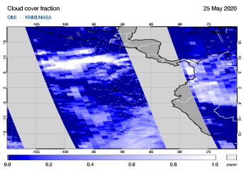 OMI - Cloud cover fraction of 25 May 2020