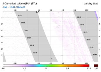 OMI - SO2 vertical column of 25 May 2020
