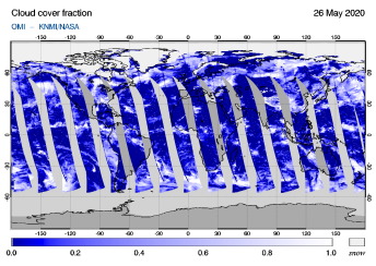 OMI - Cloud cover fraction of 26 May 2020