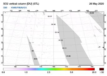 OMI - SO2 vertical column of 26 May 2020