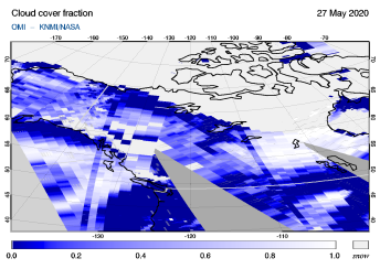 OMI - Cloud cover fraction of 27 May 2020