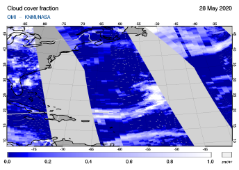 OMI - Cloud cover fraction of 28 May 2020