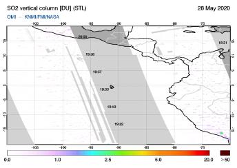 OMI - SO2 vertical column of 28 May 2020