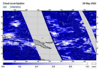 OMI - Cloud cover fraction of 29 May 2020