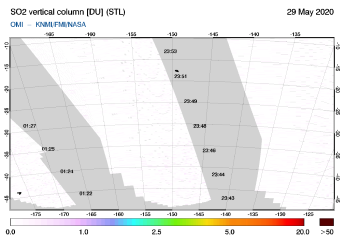 OMI - SO2 vertical column of 29 May 2020