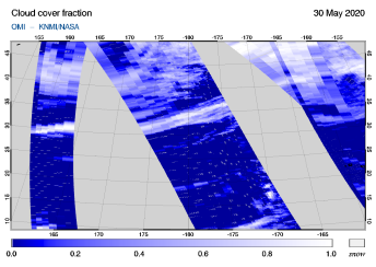 OMI - Cloud cover fraction of 30 May 2020