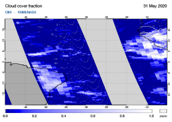 OMI - Cloud cover fraction of 31 May 2020