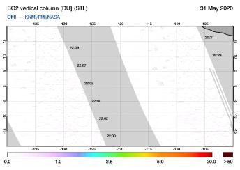 OMI - SO2 vertical column of 31 May 2020
