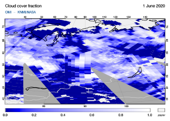 OMI - Cloud cover fraction of 01 June 2020