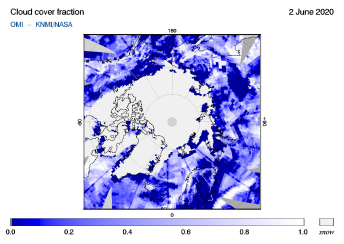 OMI - Cloud cover fraction of 02 June 2020