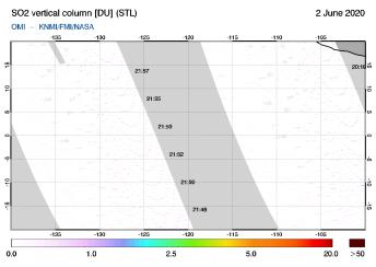 OMI - SO2 vertical column of 02 June 2020