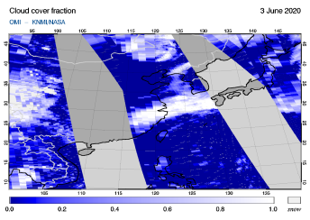 OMI - Cloud cover fraction of 03 June 2020