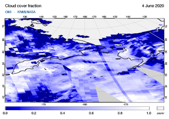 OMI - Cloud cover fraction of 04 June 2020