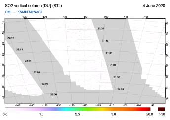 OMI - SO2 vertical column of 04 June 2020
