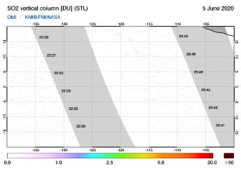 OMI - SO2 vertical column of 05 June 2020