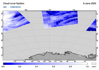 OMI - Cloud cover fraction of 06 June 2020