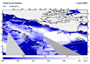 OMI - Cloud cover fraction of 07 June 2020