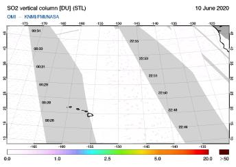OMI - SO2 vertical column of 10 June 2020