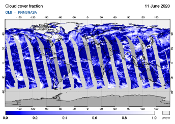 OMI - Cloud cover fraction of 11 June 2020