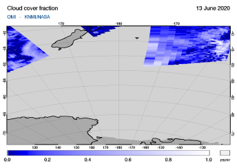 OMI - Cloud cover fraction of 13 June 2020