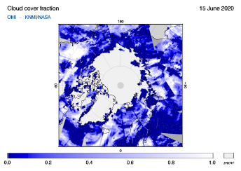 OMI - Cloud cover fraction of 15 June 2020