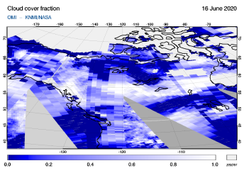 OMI - Cloud cover fraction of 16 June 2020