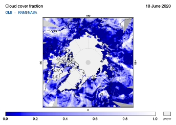 OMI - Cloud cover fraction of 18 June 2020