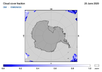 OMI - Cloud cover fraction of 20 June 2020