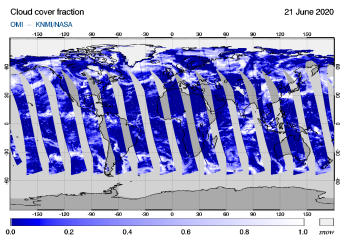 OMI - Cloud cover fraction of 21 June 2020
