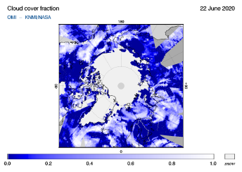 OMI - Cloud cover fraction of 22 June 2020