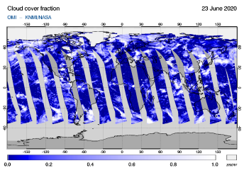 OMI - Cloud cover fraction of 23 June 2020