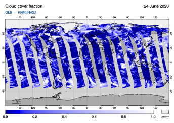 OMI - Cloud cover fraction of 24 June 2020
