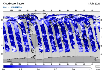 OMI - Cloud cover fraction of 01 July 2020