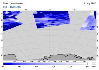 OMI - Cloud cover fraction of 02 July 2020