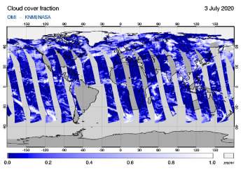 OMI - Cloud cover fraction of 03 July 2020