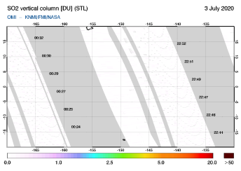 OMI - SO2 vertical column of 03 July 2020