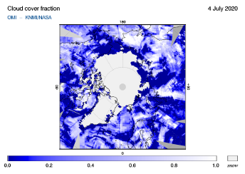OMI - Cloud cover fraction of 04 July 2020