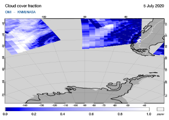 OMI - Cloud cover fraction of 05 July 2020