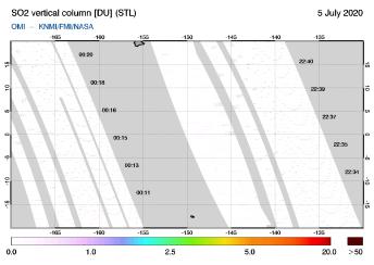 OMI - SO2 vertical column of 05 July 2020