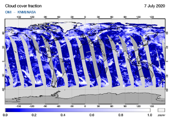 OMI - Cloud cover fraction of 07 July 2020
