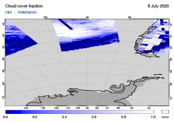 OMI - Cloud cover fraction of 08 July 2020