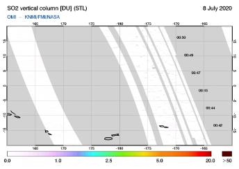 OMI - SO2 vertical column of 08 July 2020